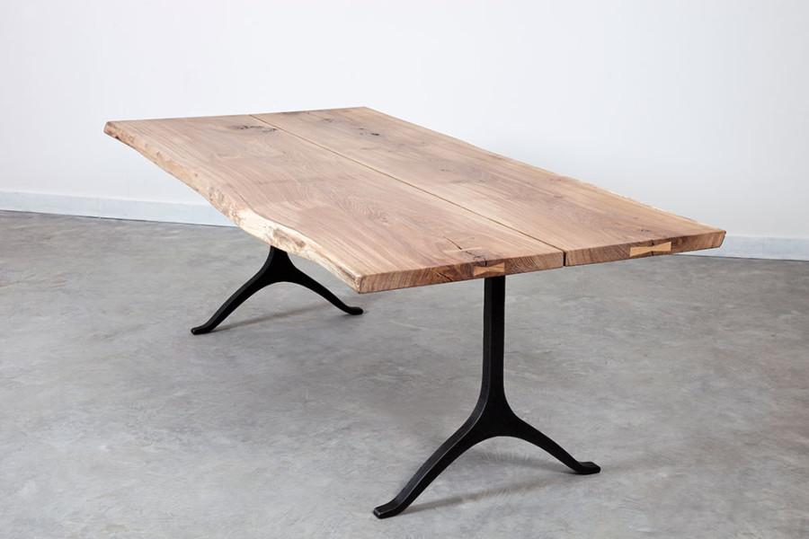 Wishbone Boule Dining Table In Raw Oak Top And Black Cast Iron Leg