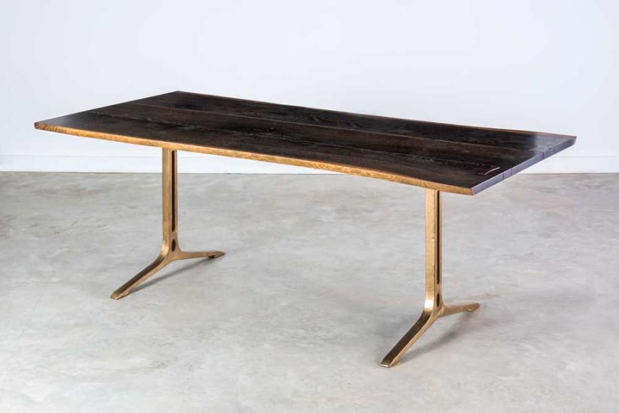 SQ Roots WISHBONE TALA SAMARA : Samara Dining Table in Seared Oak with Bronze Leg 900x600 from www.sqroots.com size 900 x 600 jpeg 64kB