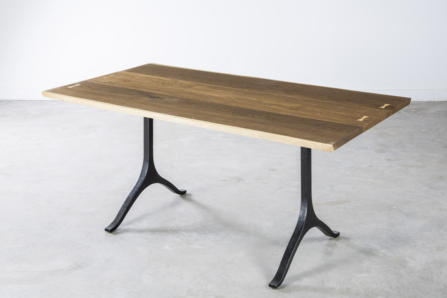 Wishbone Dining Table Light In Fumed Oak And Black Cast Iron Legs