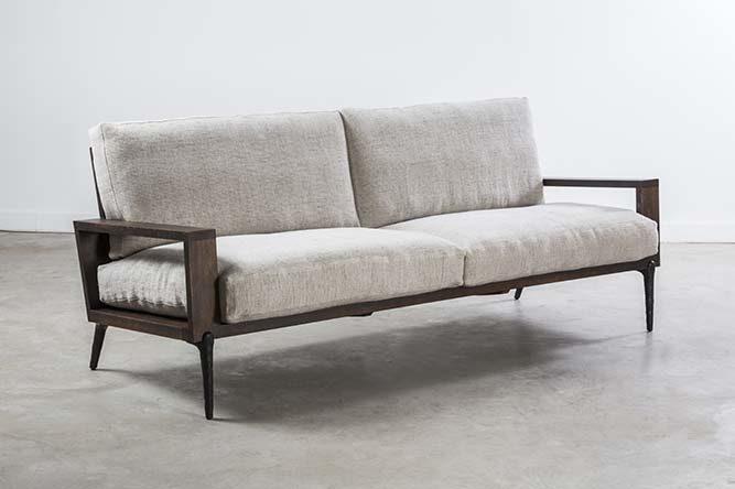 Nexa Sofa 3 Seater In Seared Oak And Black Cast Iron Leg